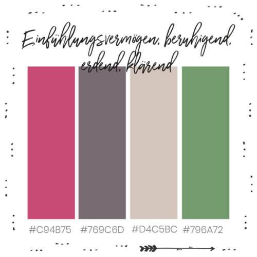 Farbkombination für Einfühlungsvermögen, beruhigend, erdend und klärend