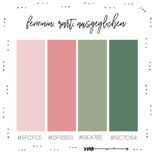 feminine, zarte und ausgeglichene Farbkombination für dein Branding