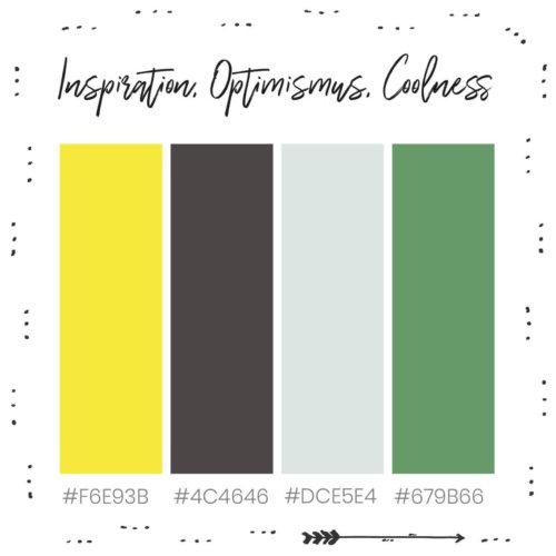 Inspiration, Optimismus, Coolness. Farbkombination für dein Branding mit Gelb
