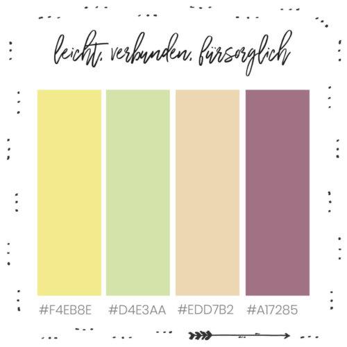 Farbkombination für dein Branding mit Gelb, leicht, verbunden, fürsorglich