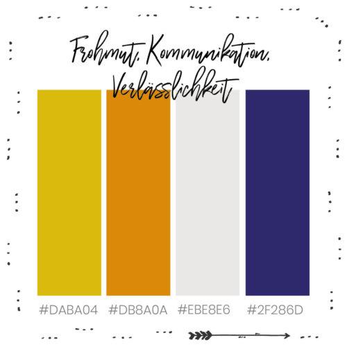 Farbkombination für dein Branding mit Gelb, Frohmut, Kommunikation, Verlässlichkeit